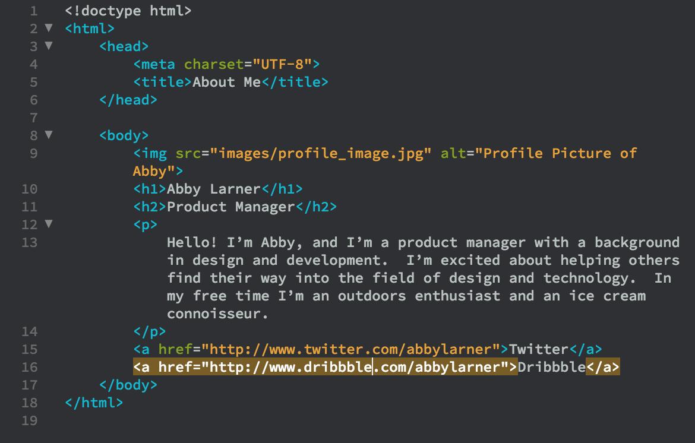 Screenshot von HTML Zeilen.