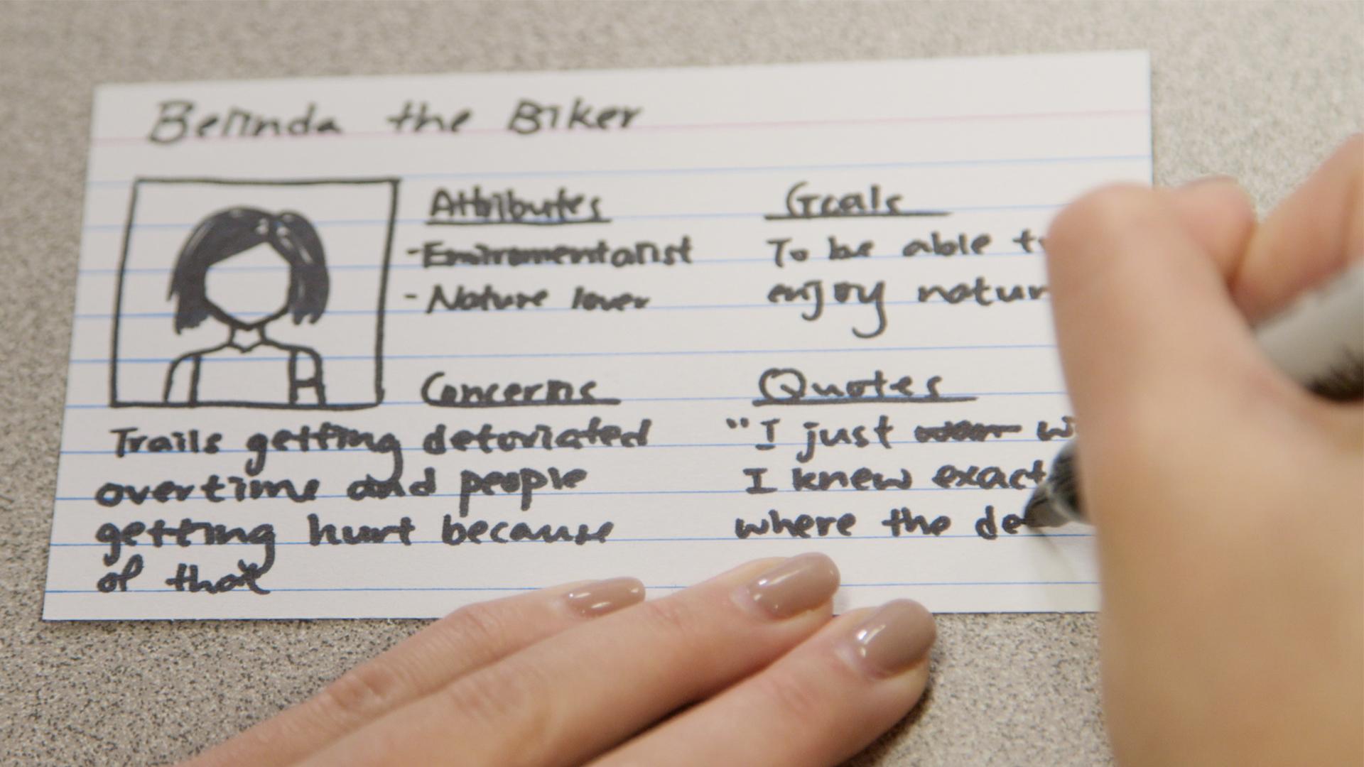 Handskizze einer Persona. Als Beispiel wie man sich eine Persona erstellen könnte.