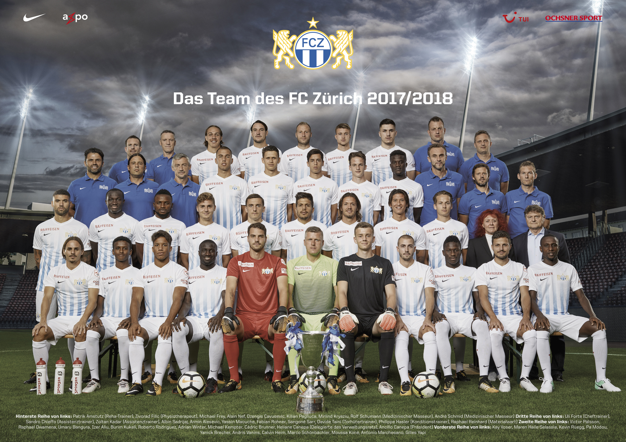 Bild des FC Zürich Fussballteams. Ein Bild wo bestmöglich kein Spieler abgeschnitten werden sollte.