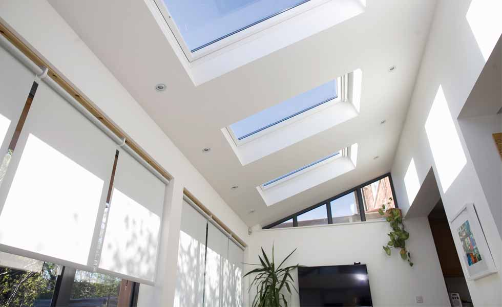 interior extension roof lights and blinds