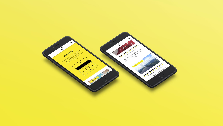 2 Smartphones auf gelben Hintergrund mit verschiedenen Ansichten der Website