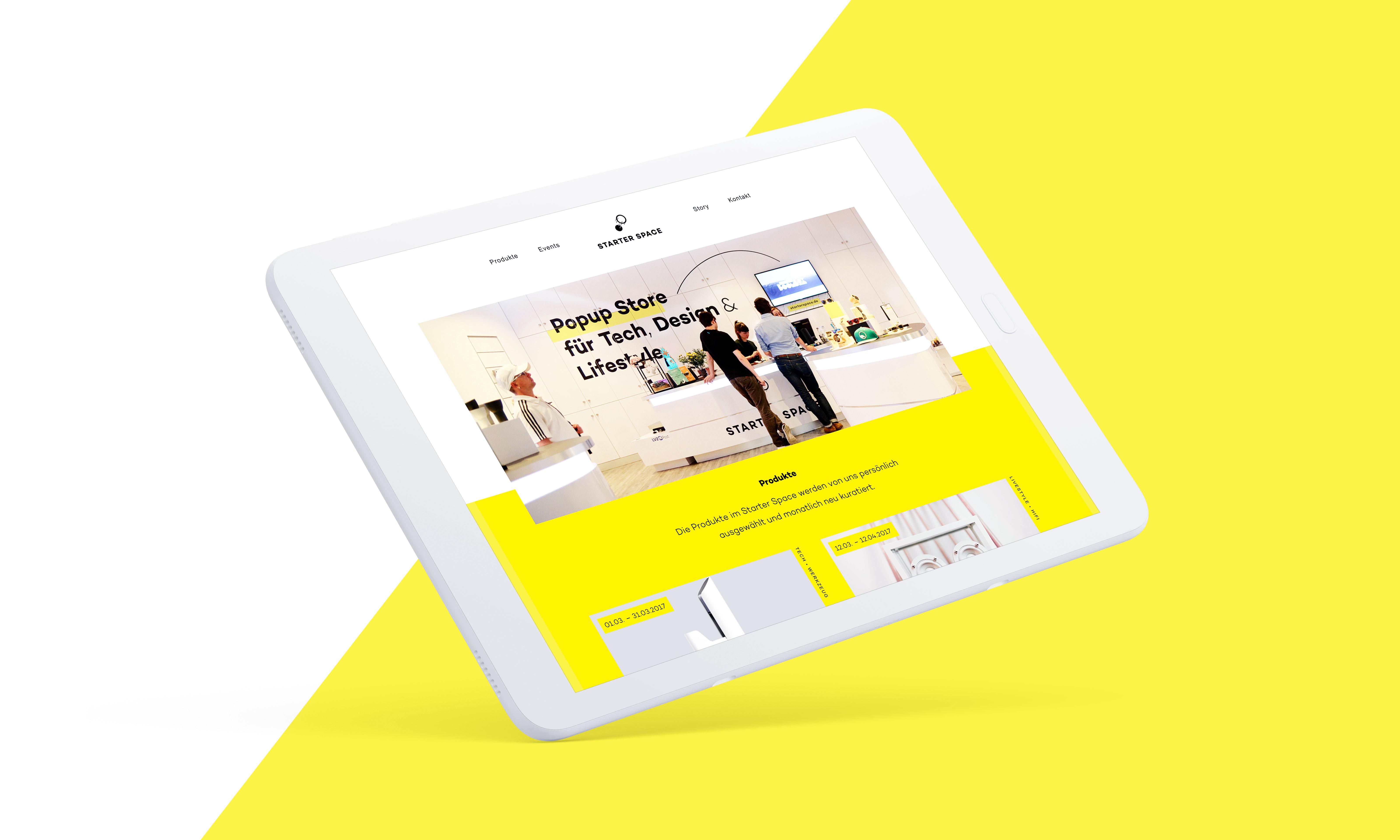 angewinkeltes Tablet mit der Startseite der Website von Starter Space