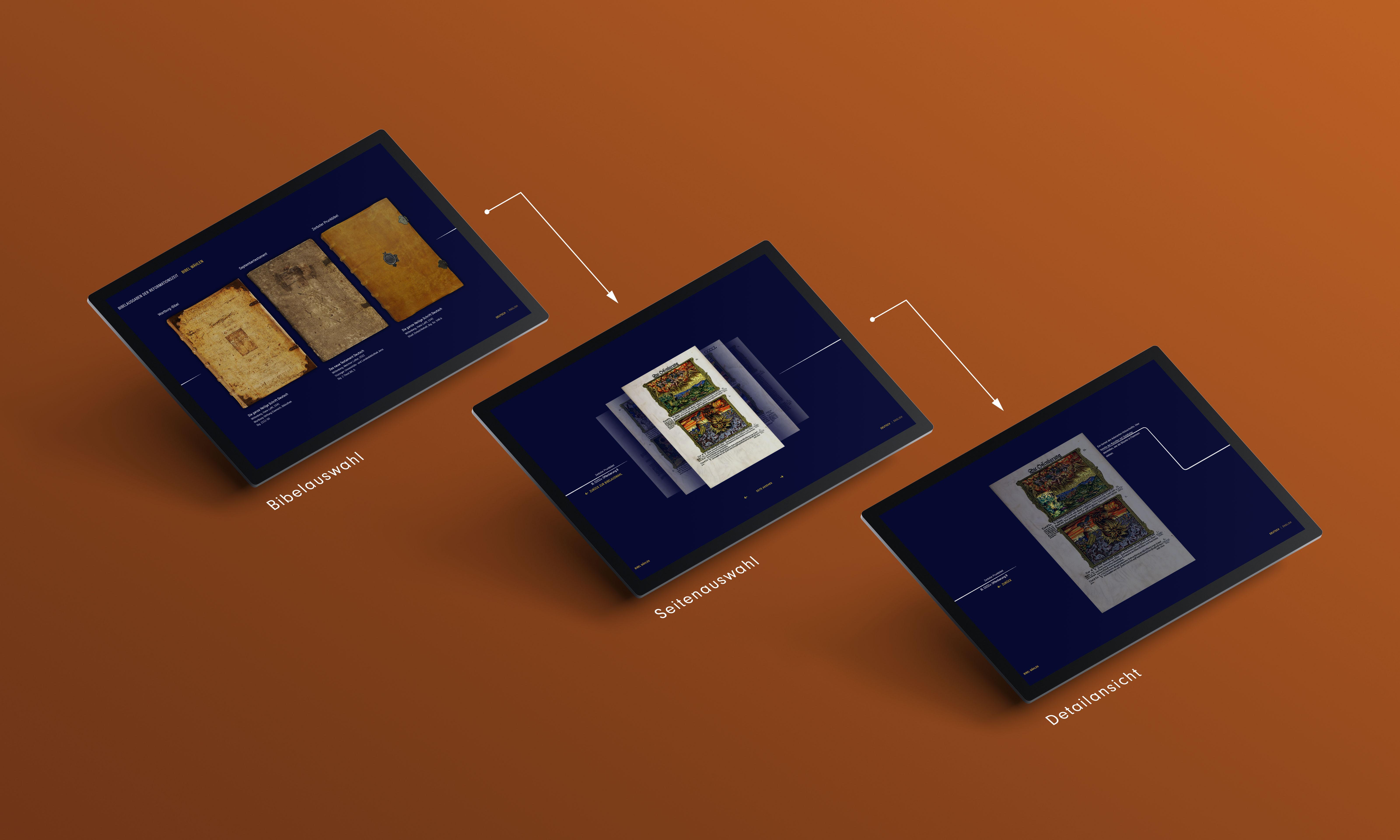 3 Touchscreens auf braunem Hintergrund mit jeweiligen Detailscreens der App, 1. Bibelcover, 2. Bibelseiten, 3.Seitendetailansicht