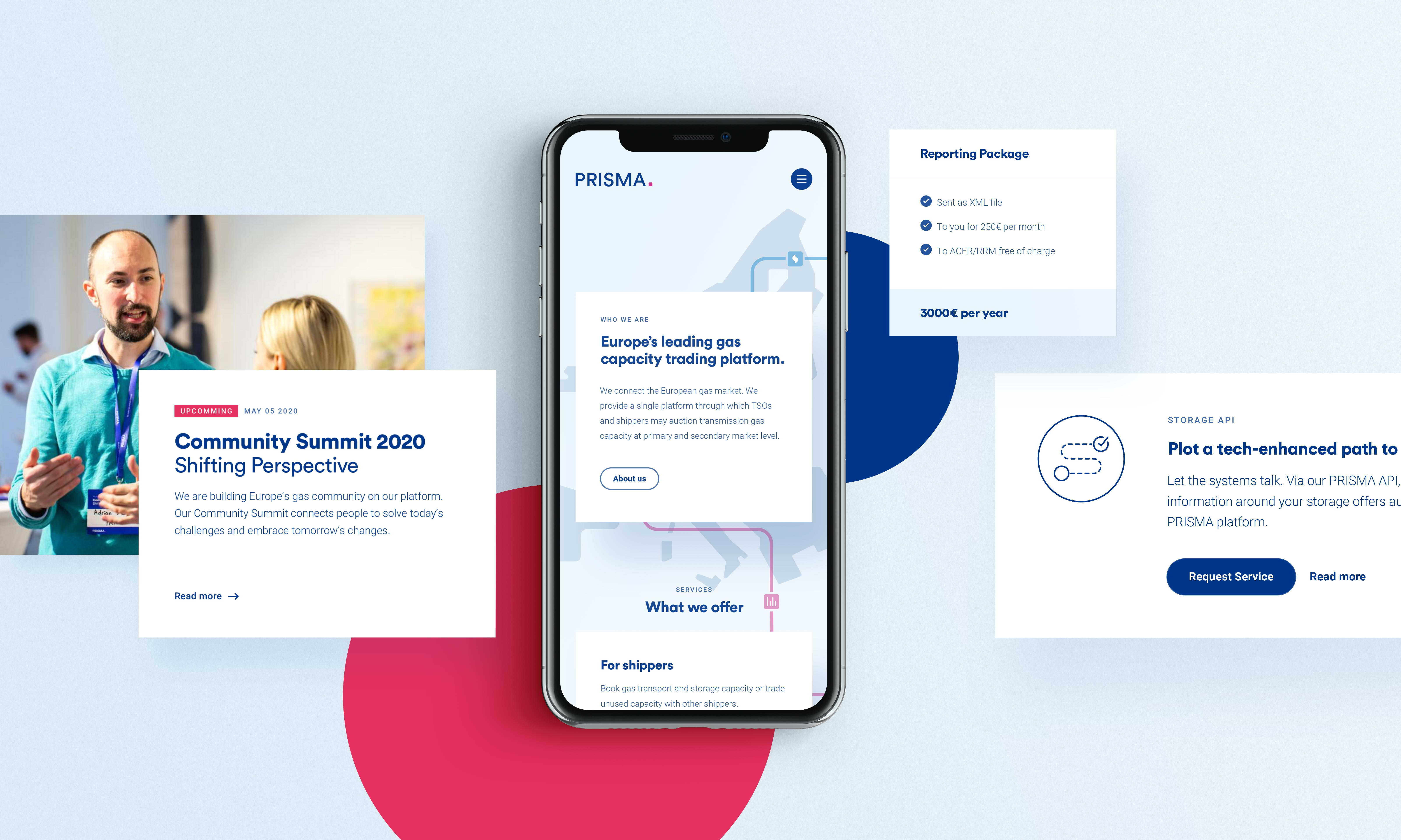 schwebende UI-Elemente der Website und Smartphone mit Ansicht der Startseite vor hellblauen Hintergrund