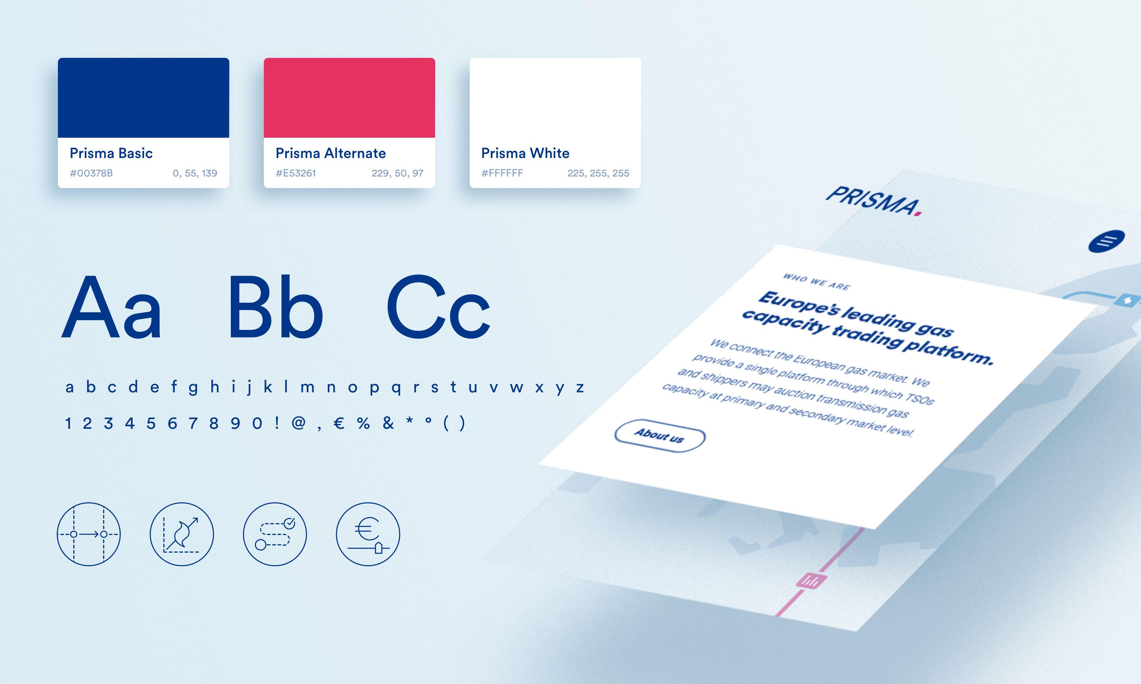 hellblauer Hintergrund, darauf Farb-und Schriftmuster, Icons, und eine isometrische Ebenenansicht von Beispiel-Website-Elementen