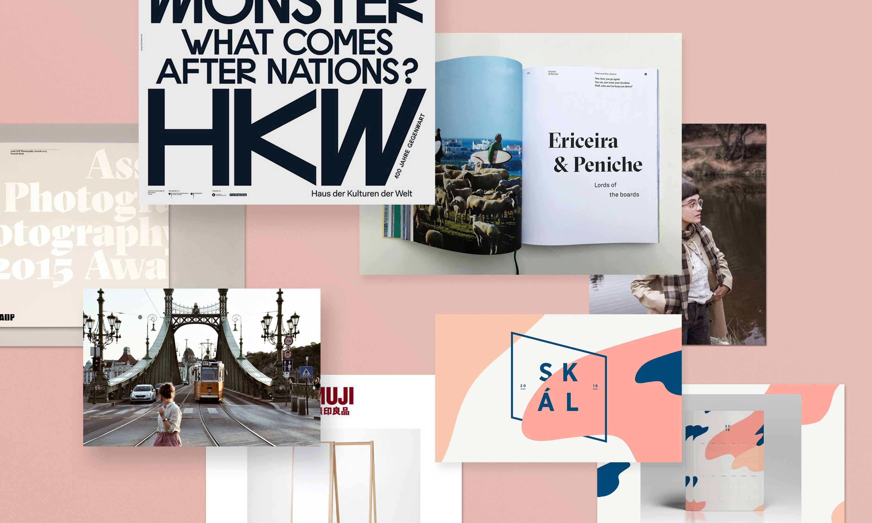 Fotos von Menschen und Bilder von Plakaten, Büchern und Designbeispielen, die übereinander schweben