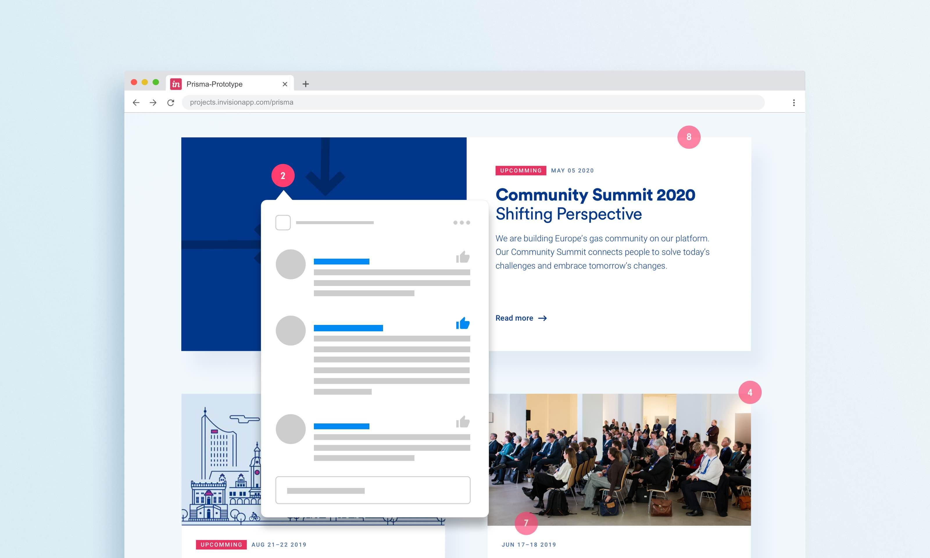 Browserfenster auf hellblauen Hintergrund mit Detail einer Seite, darauf Kreise in Magenta mit Zahlen, ein Kreis aktiv, darunter reduzierte Darstellung der Kommentare