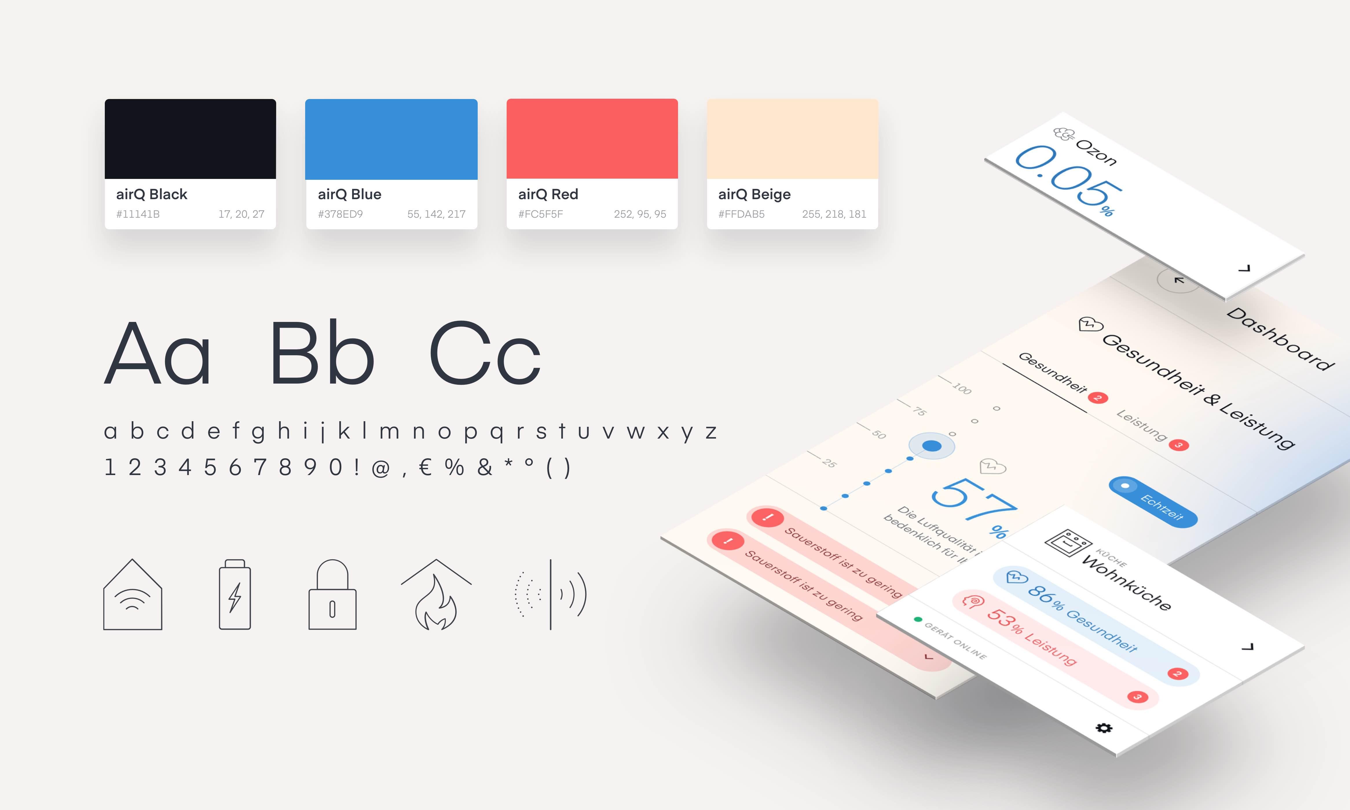 hellgrauer Hintergrund, darauf Farb-und Schriftmuster, Icons, und eine isometrische Ebenenansicht von Beispiel-App-Elementen