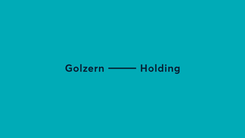 dunkelblaues Logo von Golzern Holding auf türkisen Hintergrund