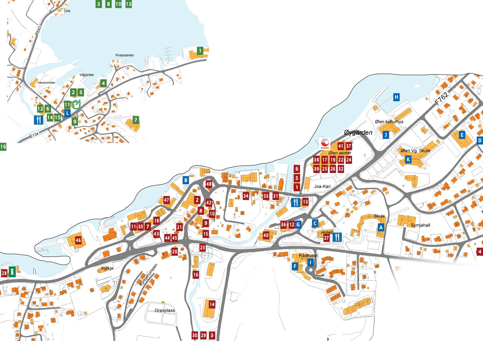 Bilete av kart med lokasjon til butikkar og bedrifter