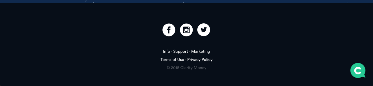 Clarity Money's Footer