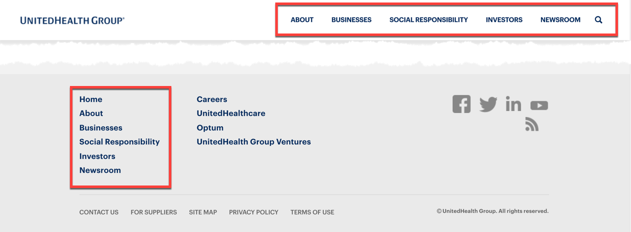 UnitedHealth Group Footer
