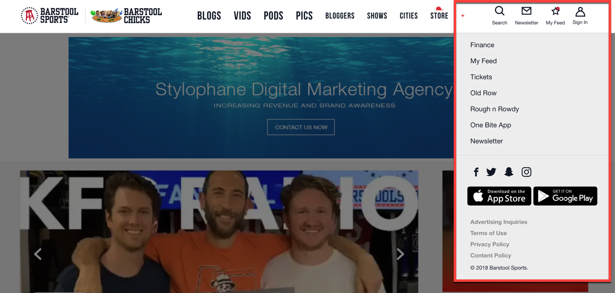 Barstool Sports Global Navigation