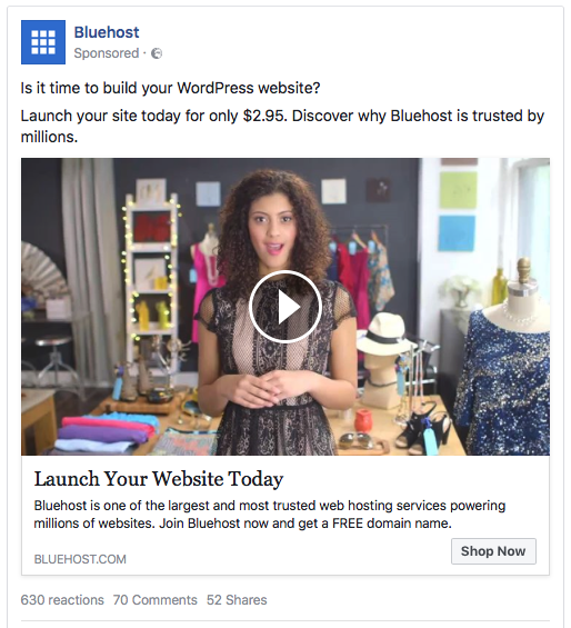 Bluehost ad examples