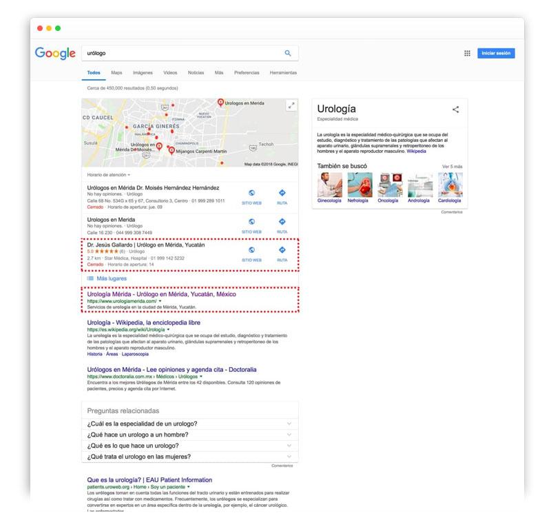 posicionamiento en google de urologia merida