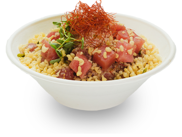 Pokerrito signature poke bowl aburi with flame torched ahi tuna, crab meat, lemon, green onion, shredded chili, furikake, crispy tempura, and miso glaze sauce