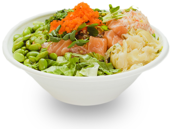 Pokerrito signature poke bowl hanauma with salmon, seaweed salad, crab meat, edamame, ginger, sprout, masago, furikake, and creamy mayo sauce