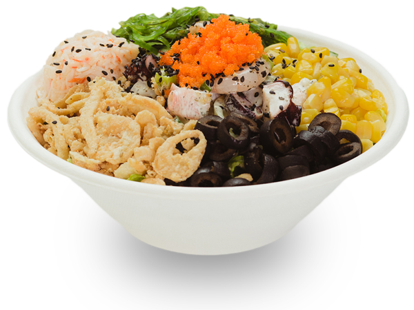 Pokerrito signature poke bowl wikiki with octopus, shrimp, seaweed salad, crab meat, masago, sesame seed, crispy onion, sweet corn, black olive, and wasabi basil sauce