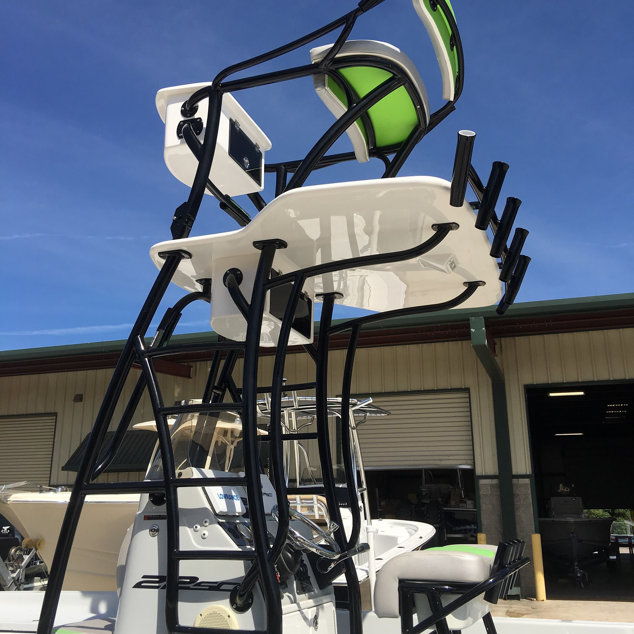 Powder coated boat tower-green and black