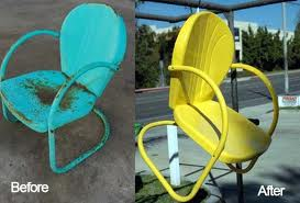 Before and after garden chair Powder Coated