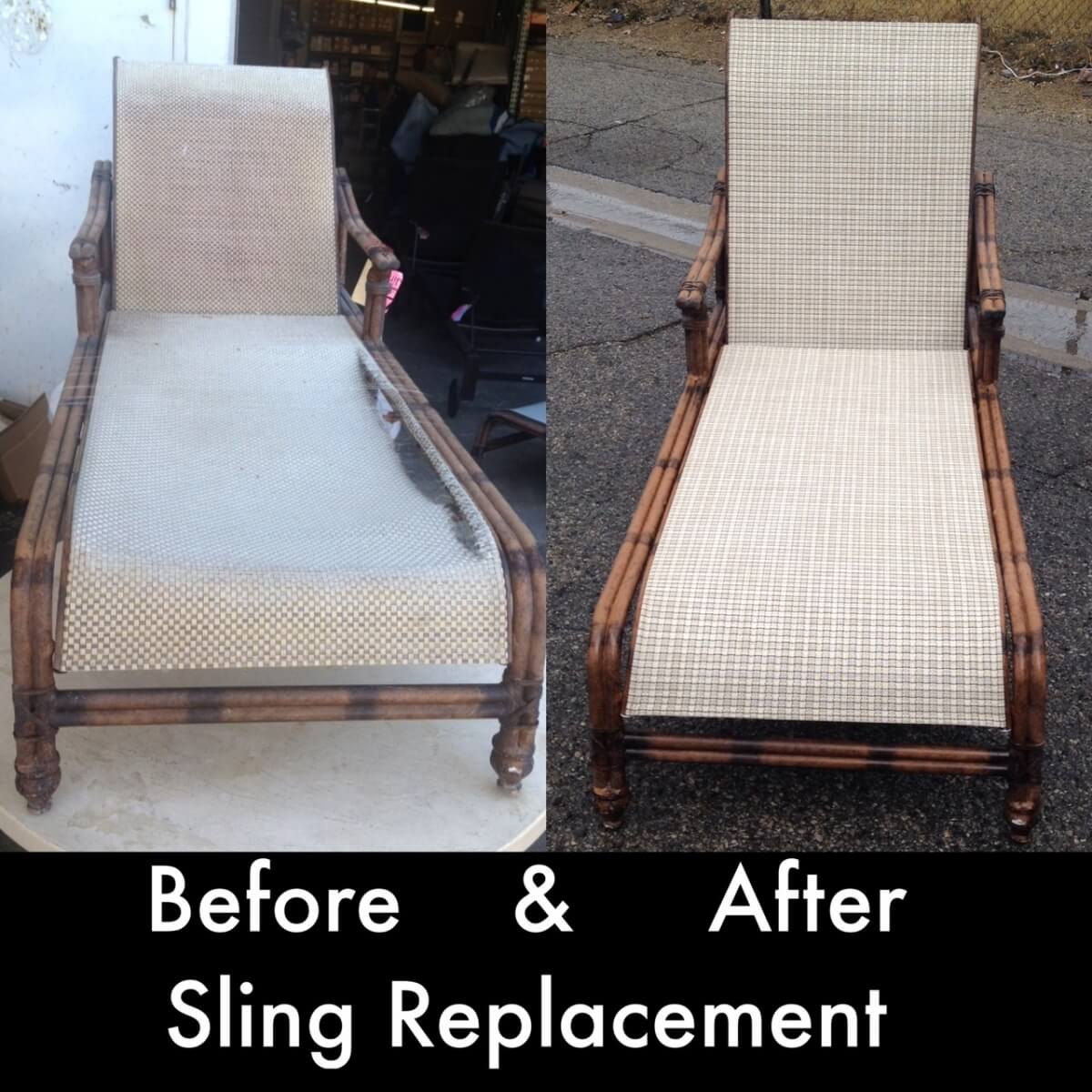 Before and after lounge chair Powder Coated
