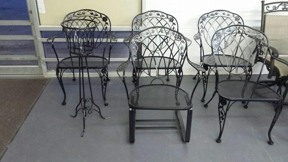 black chairs and planter powder coated
