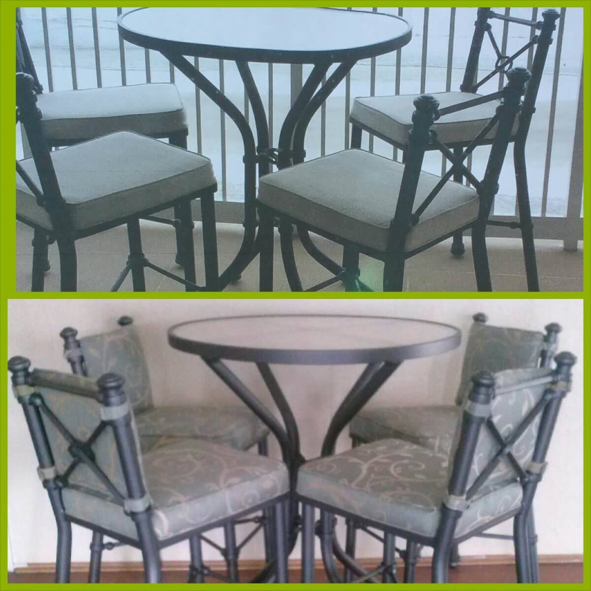 Before and after patio table and chair set