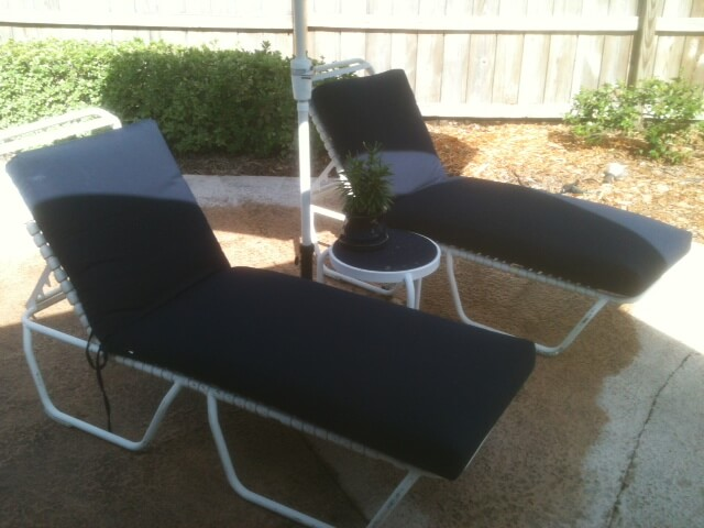White and blue patio chairs re-fabric
