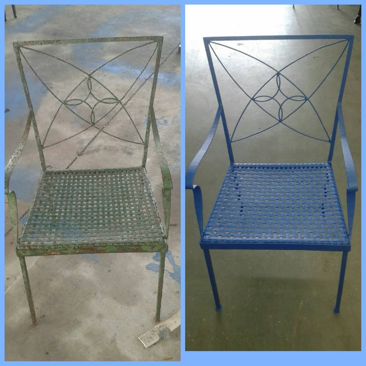 Before and after chair blue
