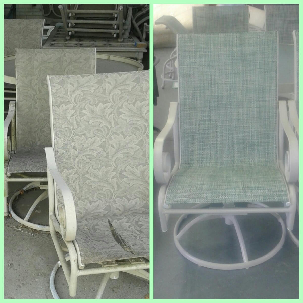 Before and after patio chair powder coating and re-fabric