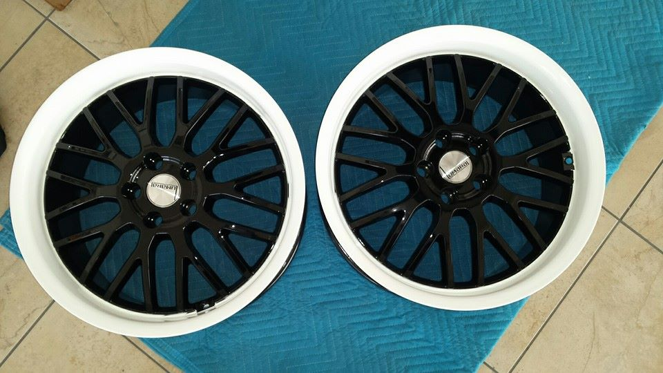 black and white rims powder coated