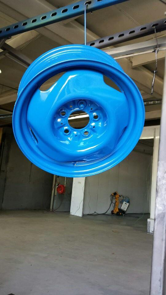 blue rim powder coated
