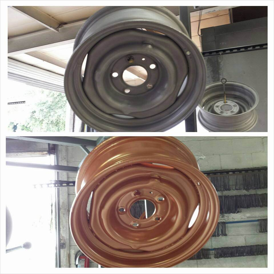 Before and after rim powder coated bronze