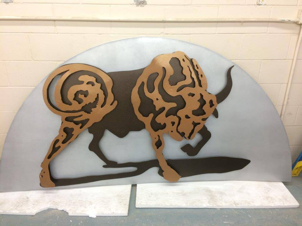 Bull powder coated