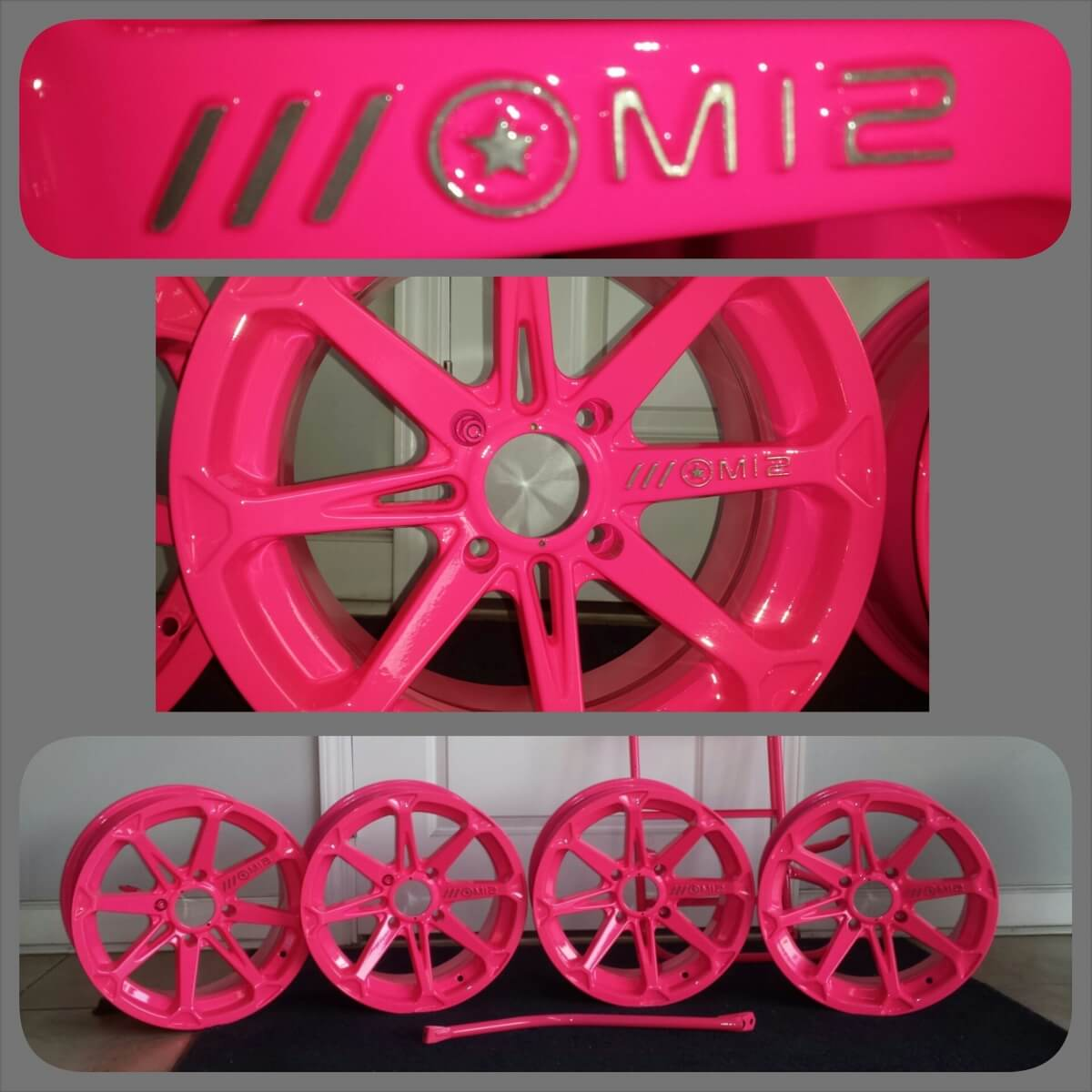 Neon Pink Rims powder coated