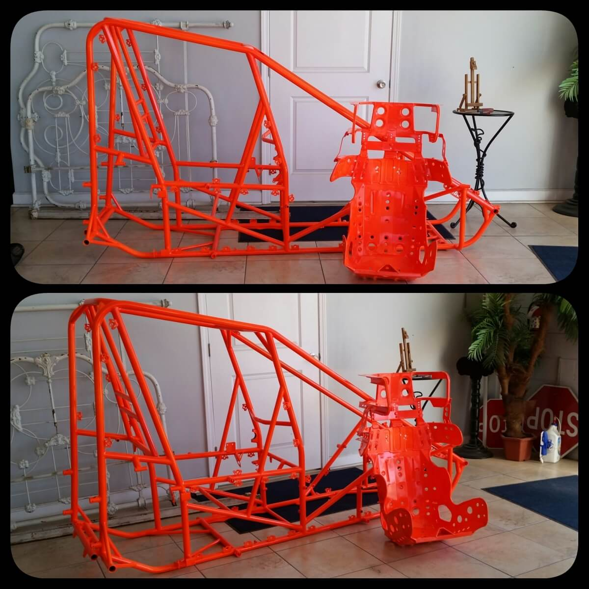 Red Orange Auto Frame powder coated