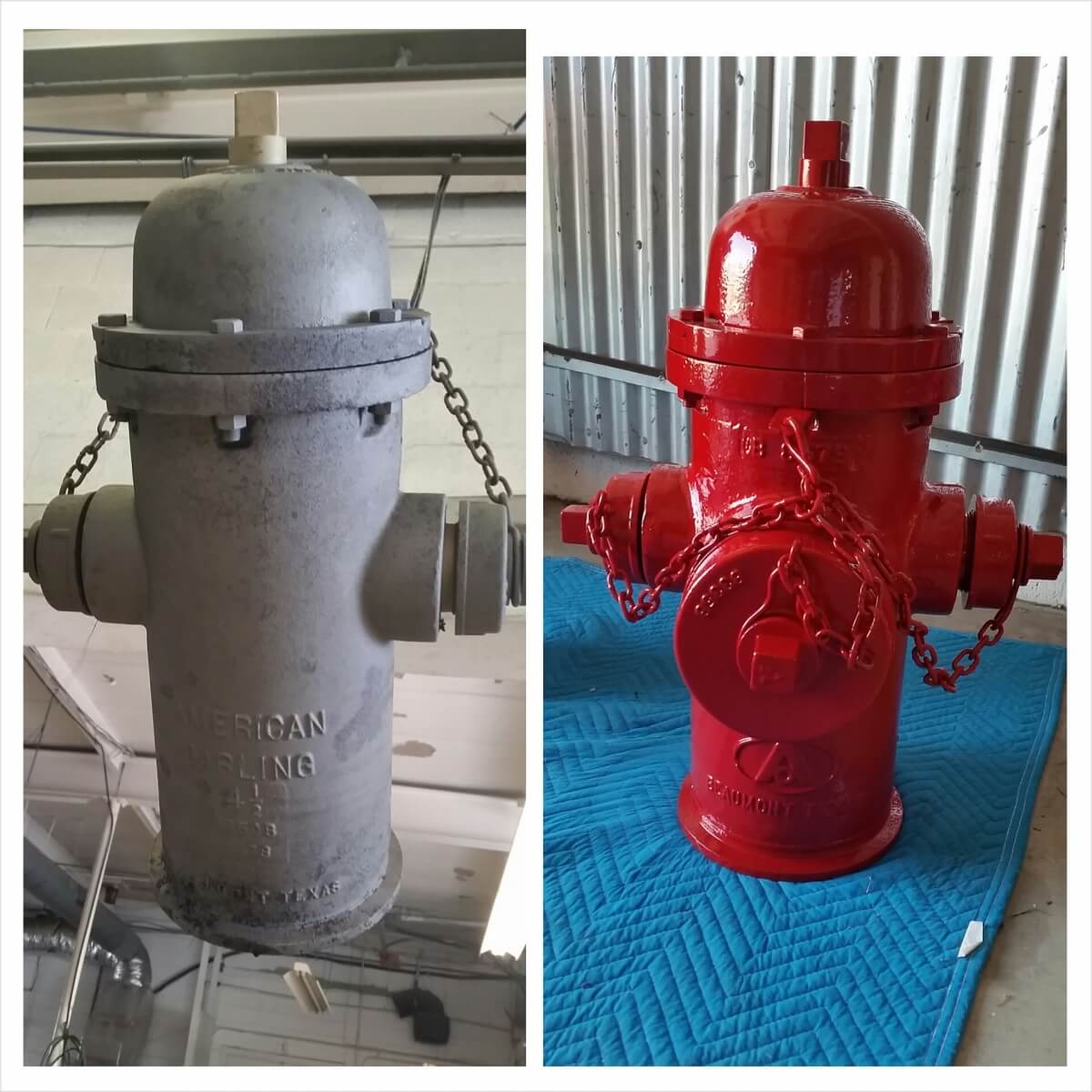 Before and after Fire Hydrant Red powder coated