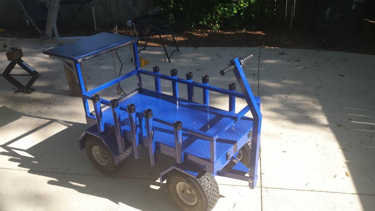 Blue Surf Fishing Rod Wagon powder coated