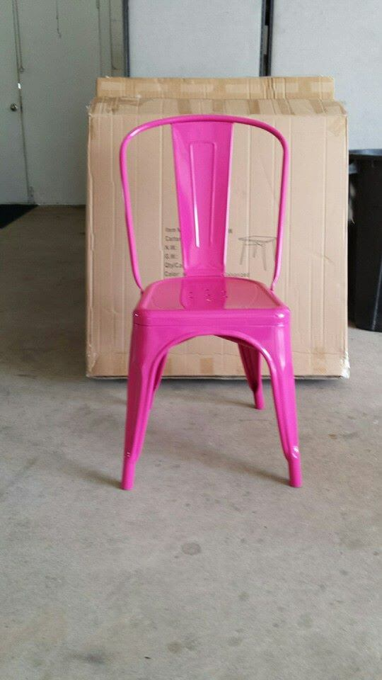 pink metal chair powder coated