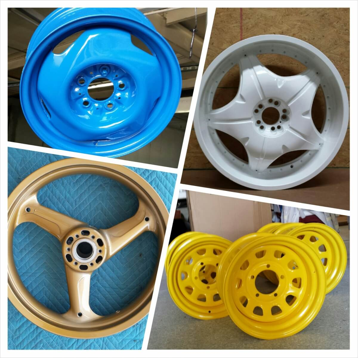 Various Colored Rims powder coated