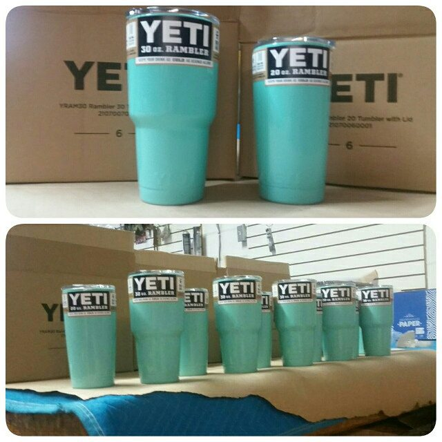 Green Yeti powder coated cups