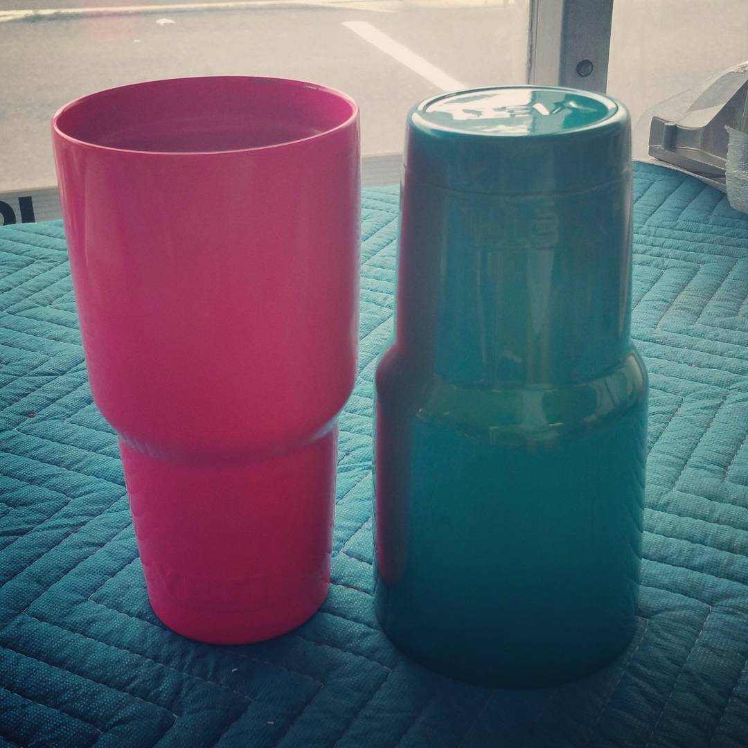 Yeti Pink and Green powder coated cups