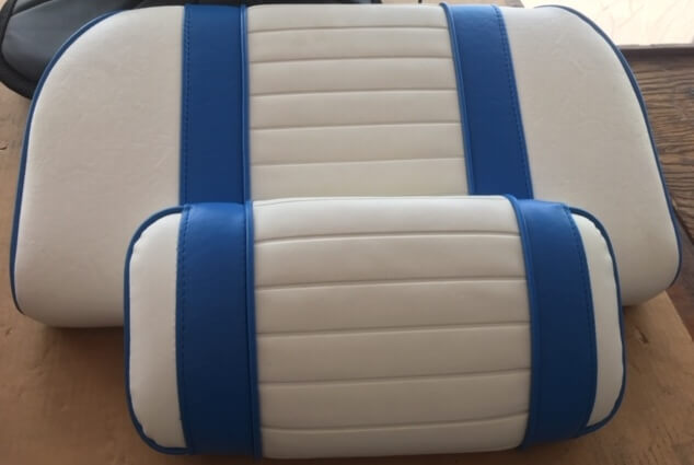 Boat Cushion white and blue restoration