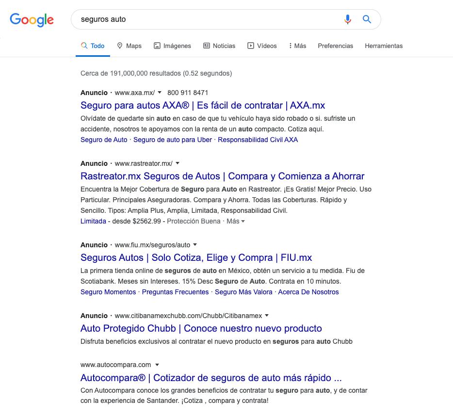 Búsqueda de contenido, ejemplo de anuncio de Google Ads