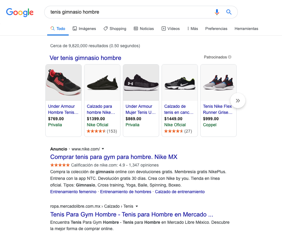 Ejemplo de campañas de Shopping en Google Ads