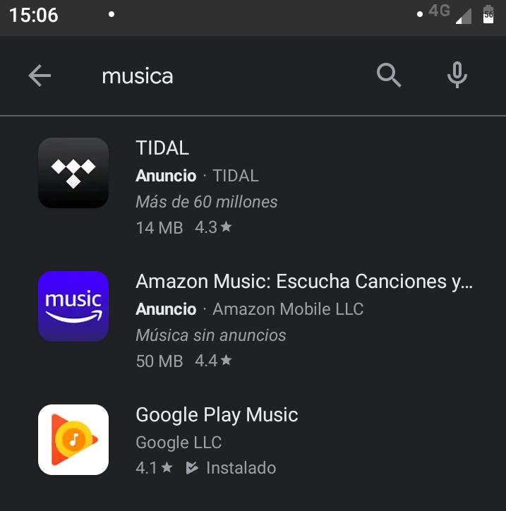 Ejemplo de una búsqueda en Google Play Store