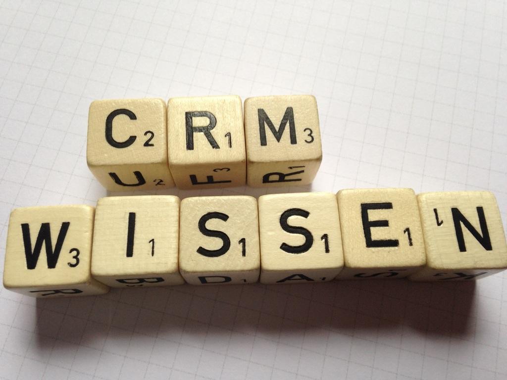 """Palabras """"CRM Wissen"""" hechas con cubos."""