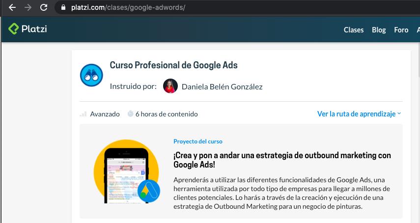curso de google ads de platzi