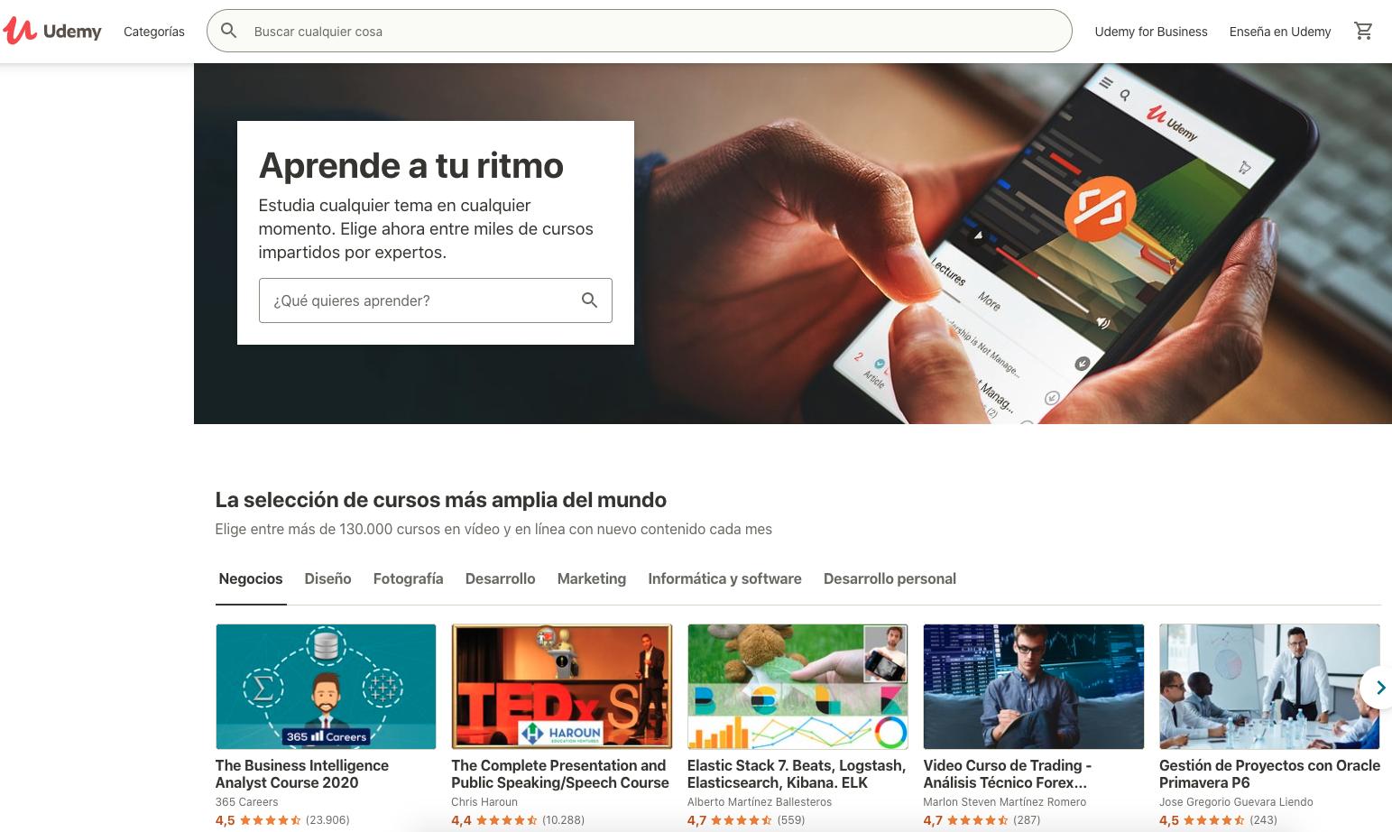 udemy es una plataforma de cursos para aprender marketing