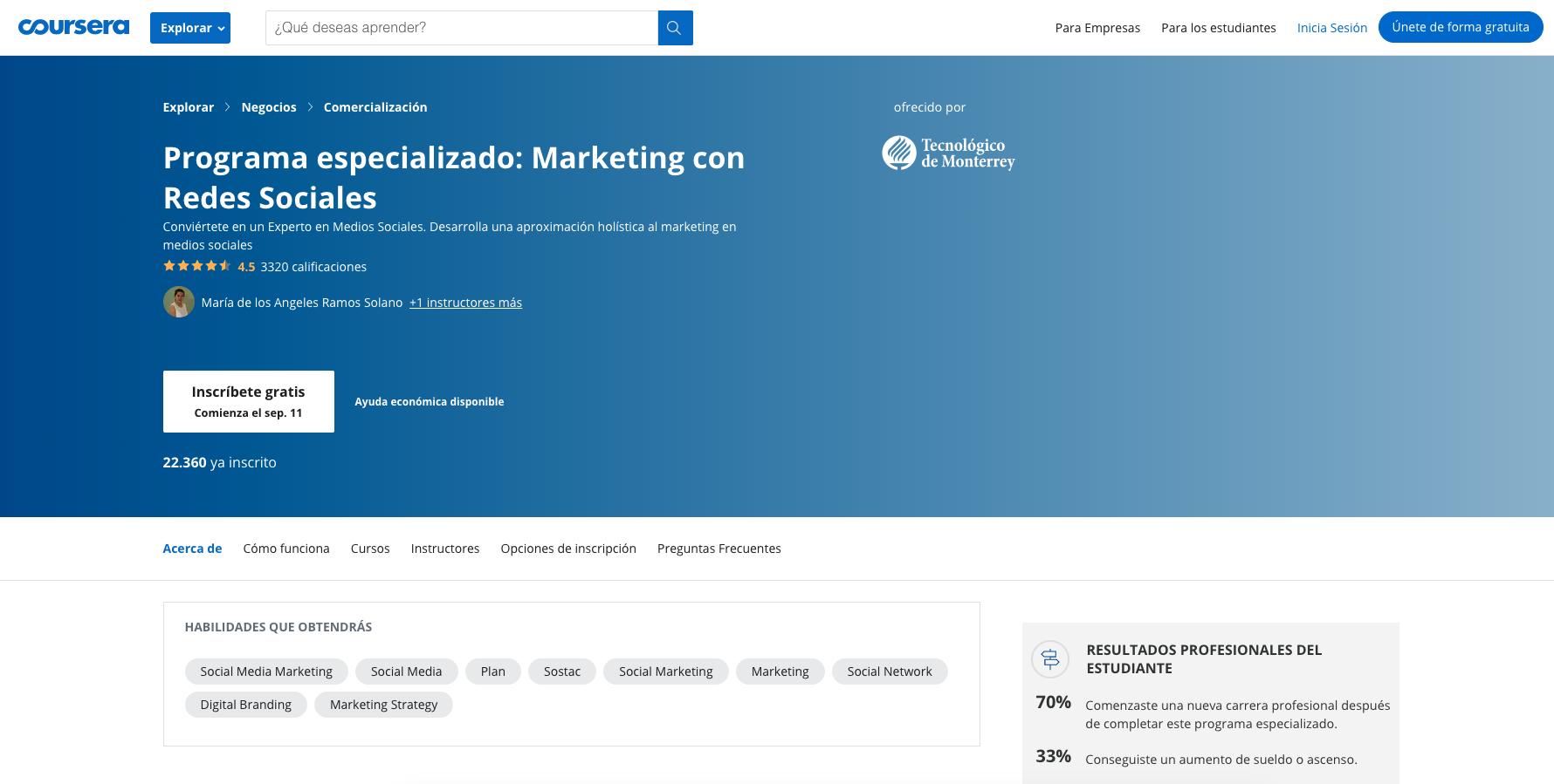 Curso de marketing con redes sociales en Coursera